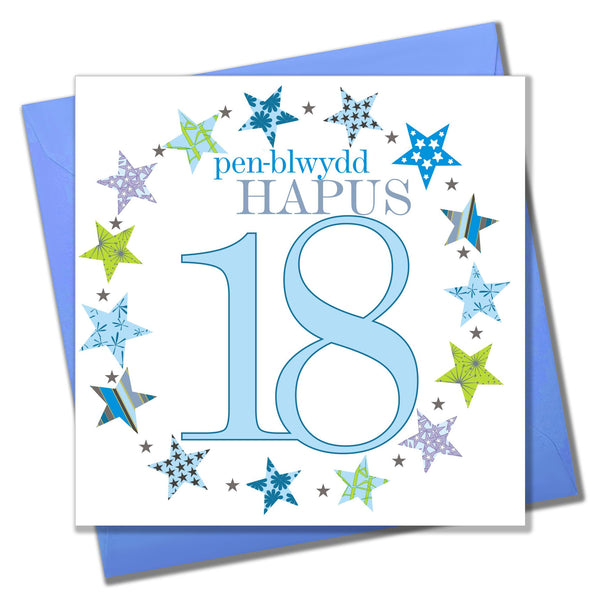 Welsh 18th Birthday Card, Penblwydd Hapus, Blue Age 18
