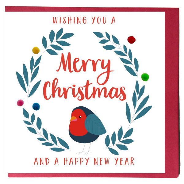 Christmas Card, Robin, Embellished with colourful pompoms