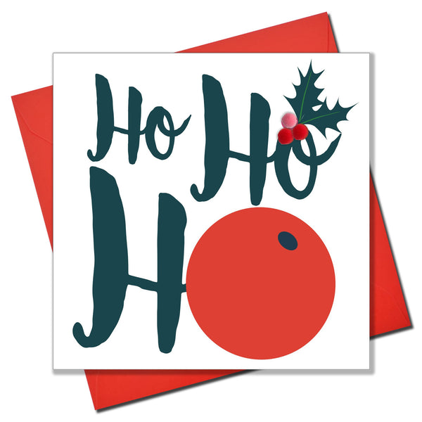 Christmas Card, Berries, Ho Ho Ho, Embellished with colourful pompoms