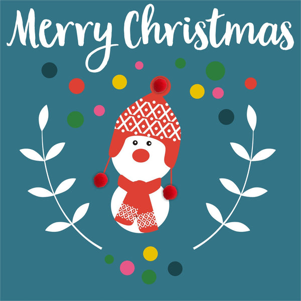 Christmas Card, Snowman, Merry Christmas, Embellished with colourful pompoms