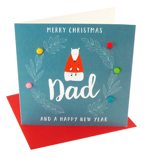 Christmas Card, Polar Bear, Merry Christmas Dad, Embellished with pompoms