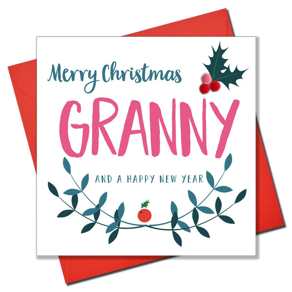 Christmas Card, Laurel & Holly, Granny, Embellished with colourful pompoms