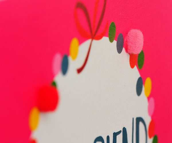 Christmas Card, Pink Bauble, Girlfriend, Embellished with colourful pompoms