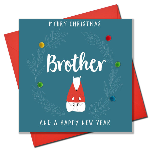 Christmas Card, Polar Bear, Brother, Embellished with colourful pompoms