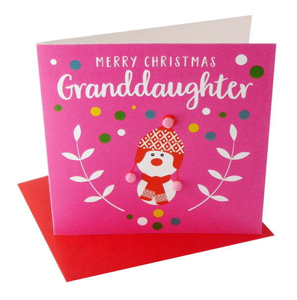 Christmas Card, Pink Snowman, Granddaughter, Embellished with colourful pompoms