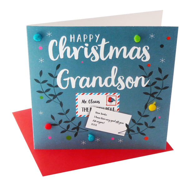 Christmas Card, Dear Santa, Grandson, Embellished with colourful pompoms
