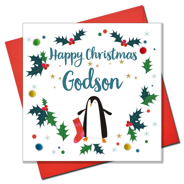 Christmas Card, Penguin, Godson, Embellished with colourful pompoms