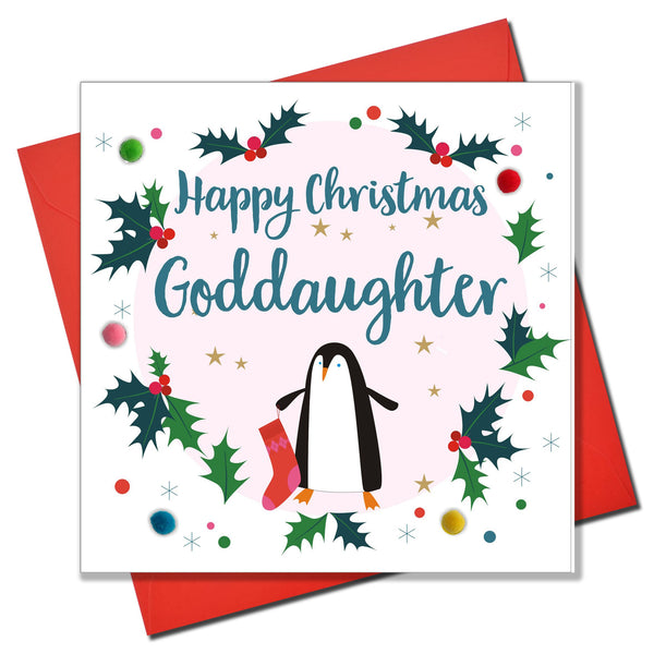 Christmas Card, Penguin, Goddaughter, Embellished with colourful pompoms