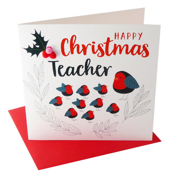 Christmas Card, Robin classroom, Teacher, Embellished with colourful pompoms