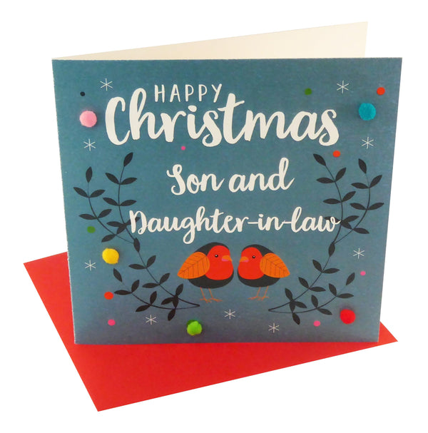 Christmas Card, Robins, Son and Daughter-in-law, Pompom Embellished