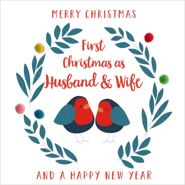 Christmas Card, Robins, 1st Christmas as Husband and Wife, Pompom Embellished