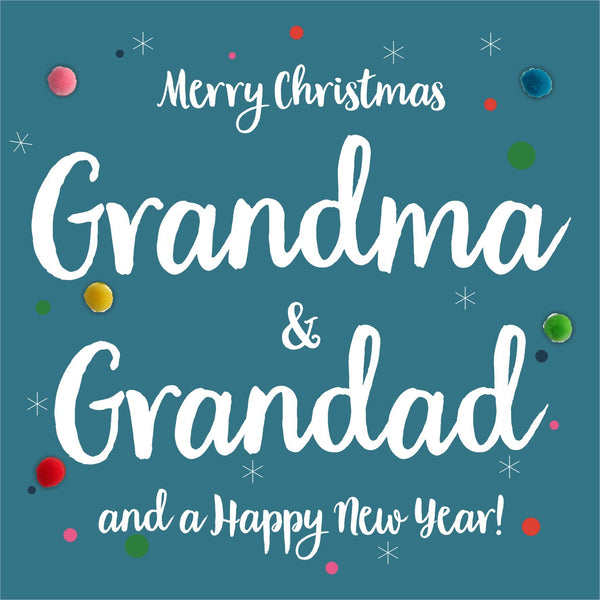 Christmas Card, Dotty, Grandma and Grandad, Pompom Embellished