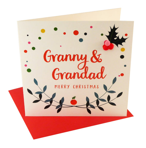 Christmas Card, Laurel and Berry, Granny and Grandad Pompom Embellished