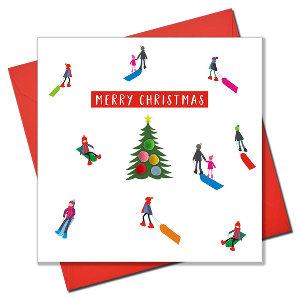 Christmas Card, Sledgers around a tree , Merry Christmas, Pompom Embellished