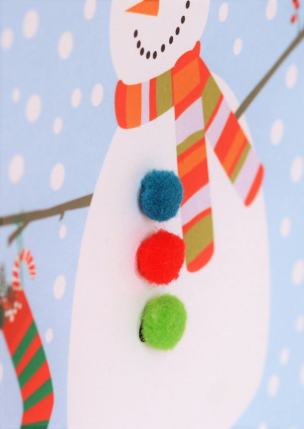 Christmas Card, Snowman , Happy Christmas, Embellished with colourful pompoms