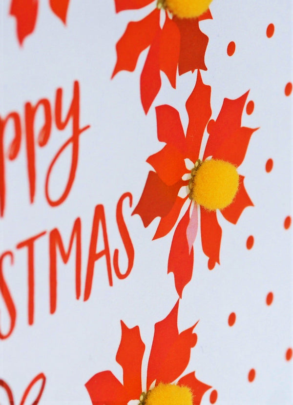 Christmas Card, Poinsettias and dots , Happy Christmas, Pompom Embellished