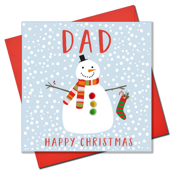 Christmas Card, Snowman , Dad, happy Christmas, Pompom Embellished