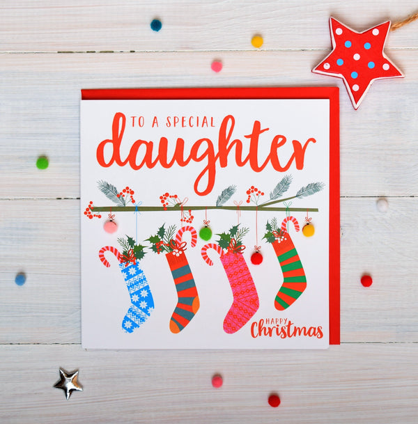 Christmas Card, Four Christmas stockings, Special daughter, Pompom Embellished