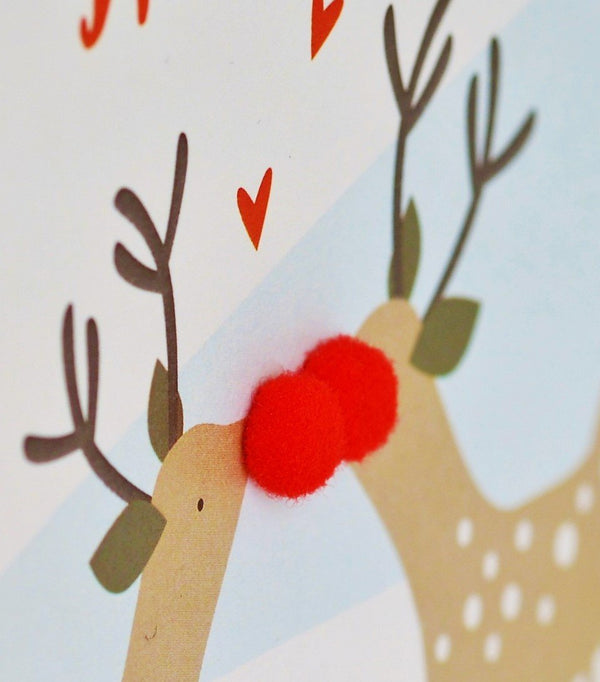 Christmas Card, Kissing reindeers, Wonderful husband, Pompom Embellished