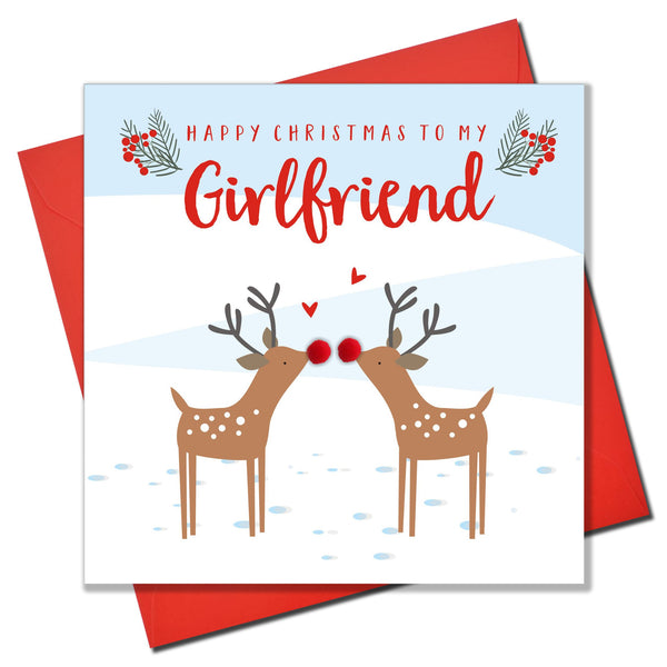 Christmas Card, Kissing reindeers, Girlfriend, Pompom Embellished