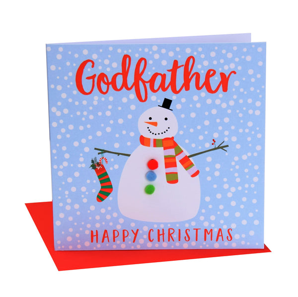 Christmas Card, Snowman , Godfather, happy Christmas, Pompom Embellished