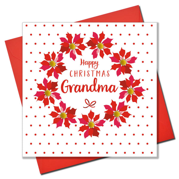 Christmas Card, Poinsettias and dots, grandma, Pompom Embellished