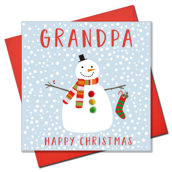 Christmas Card, Snowman , Grandpa, happy Christmas, Pompom Embellished