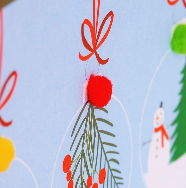 Christmas Card, Three baubles on a branch, Grandson, Pompom Embellished