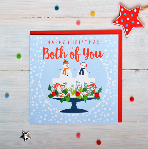 Christmas Card, Snowmen on a Christmas cake, To both of you, Pompom Embellished