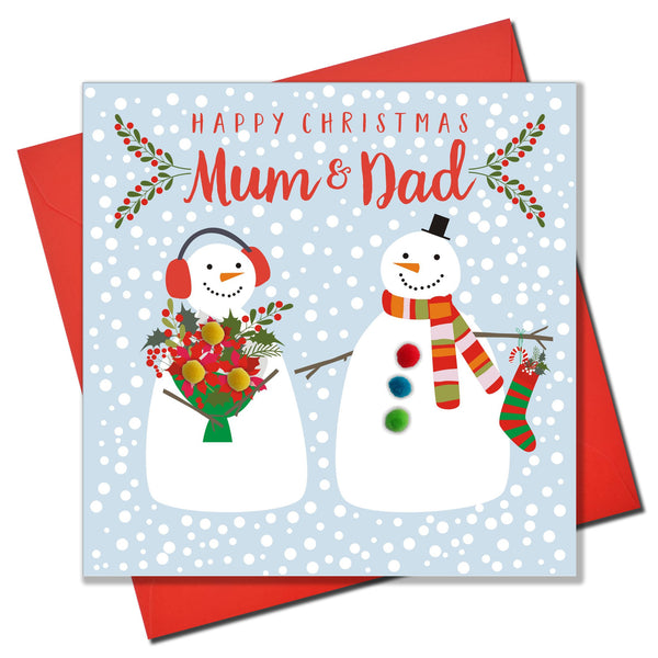 Christmas Card, Two snowmen , Happy Christmas mum and dad, Pompom Embellished