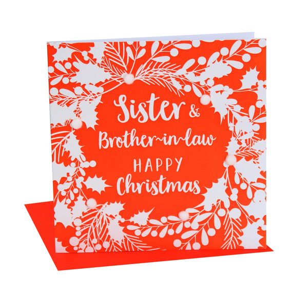 Christmas Card, White foliage, Sister and brother-in-law, Pompom Embellished