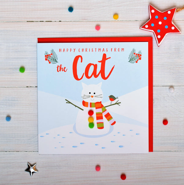 Christmas Card, Snowcat , Happy Christmas from the Cat, Pompom Embellished