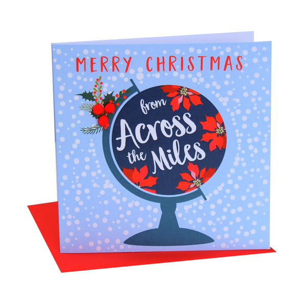 Christmas Card, Christmas globe, From across the miles, Pompom Embellished