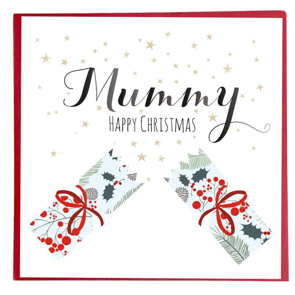 Christmas Card, Stars and Cracker, Mummy Happy Christmas