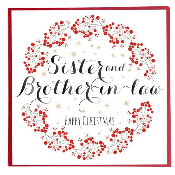 Christmas Card, Wreath of Berries, Happy Christmas, Sister & Brother-in-law