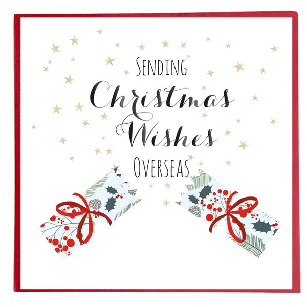 Christmas Card, Cracker and Stars, Christmas Wishes Overseas