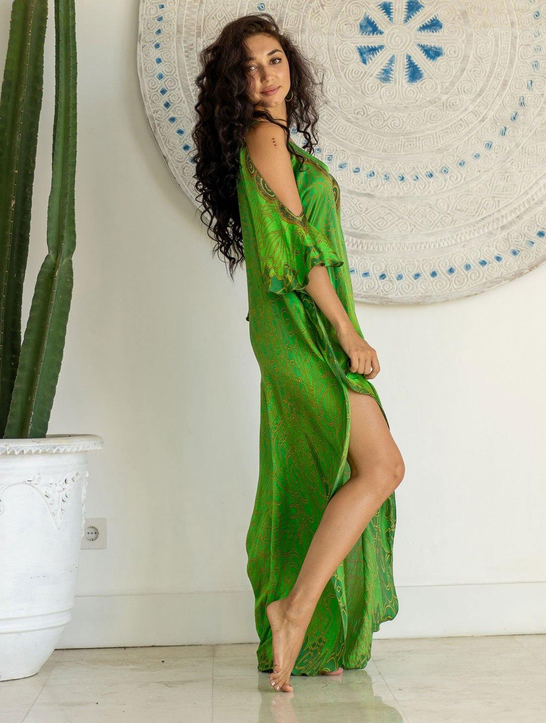 Emerald Crown Open Sleeve Dress