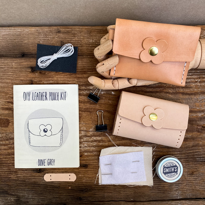 dove grey diy leather pouch kit