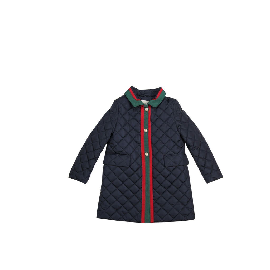 Gucci Girls Nylon Quilted Navy Jacket