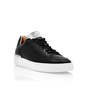 philipp plein LEATHER LO-TOP SNEAKERS SILVER