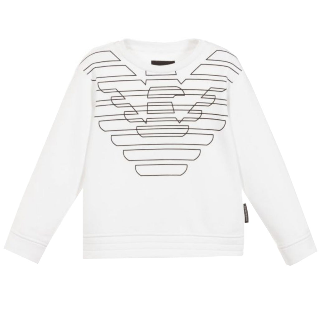 Armani Junior Boys White Eagle Logo Sweatshirt
