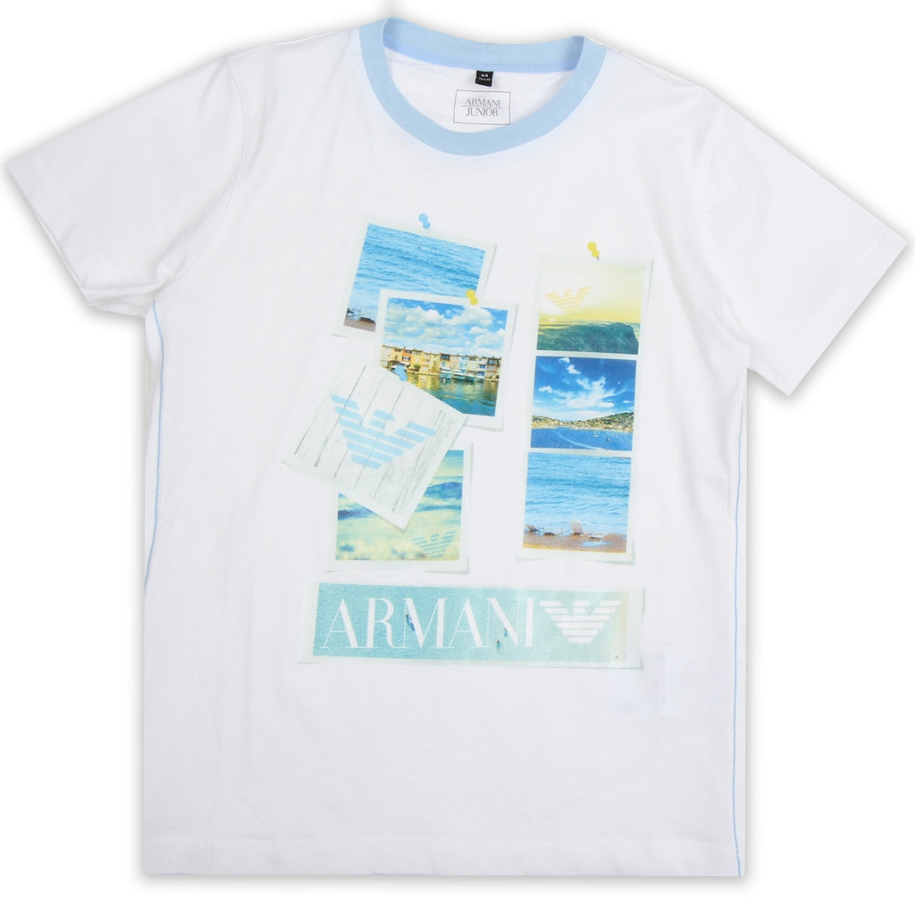 Armani Junior White Print Beach Photos T-Shirt