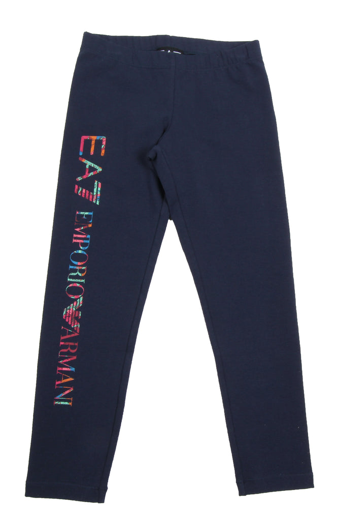 EA7 Junior Girls Navy Flower Logo Legging