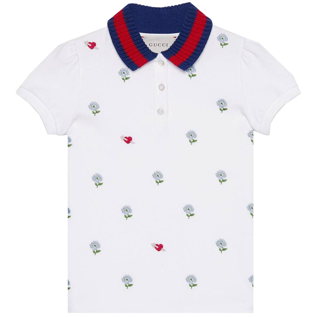 Gucci Girls Web Collar White Flower Polo Shirt