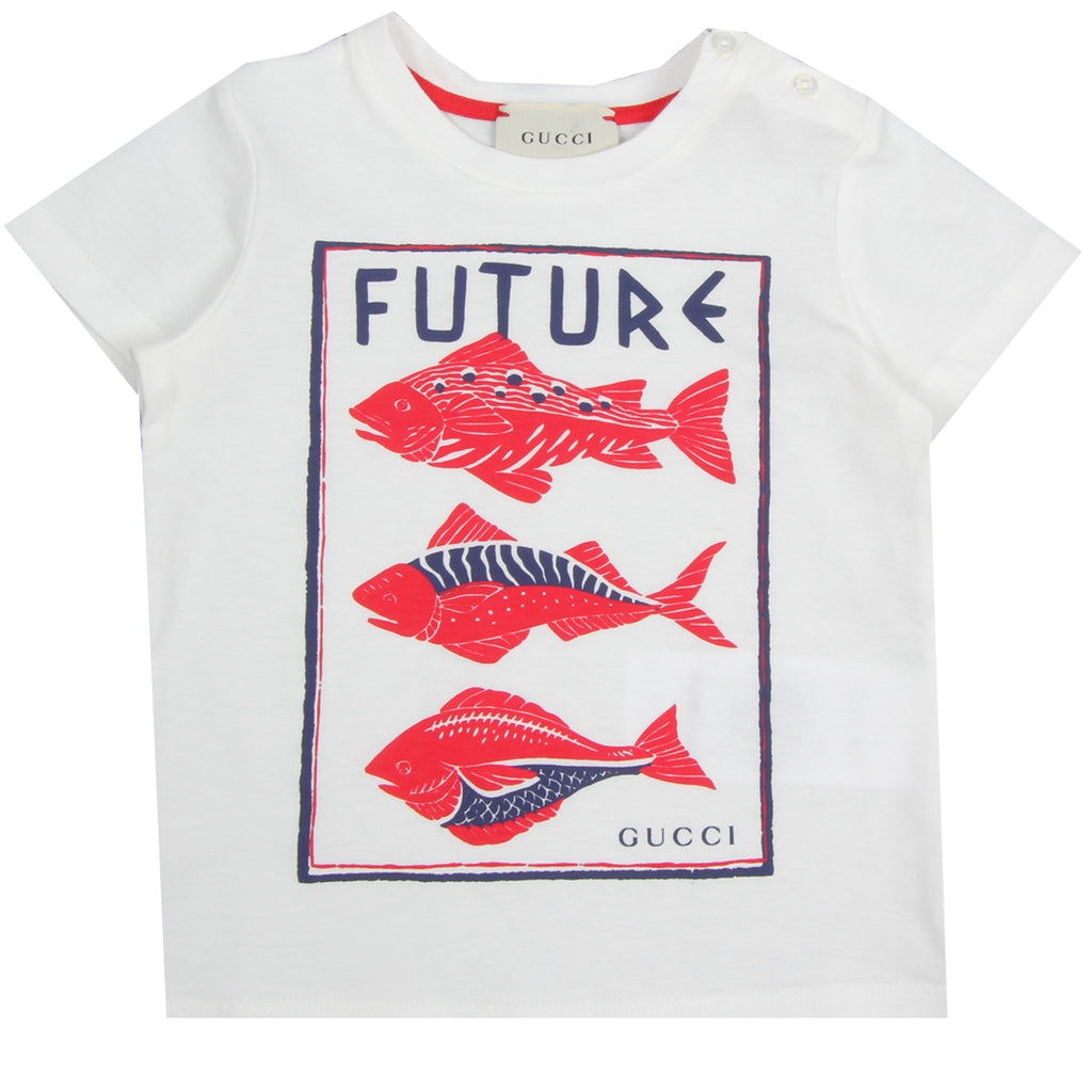 Gucci Baby Fish Print White T-Shirt
