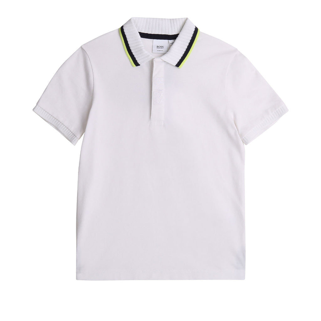 Hugo Boss Kids White Embroidered Polo Shirt