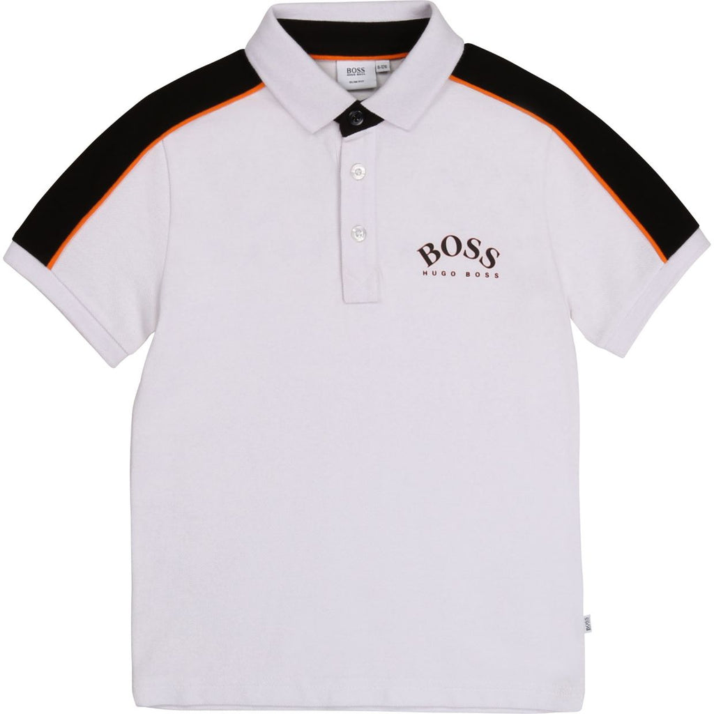 Hugo Boss Kids White Rubberised Logo Polo Shirt