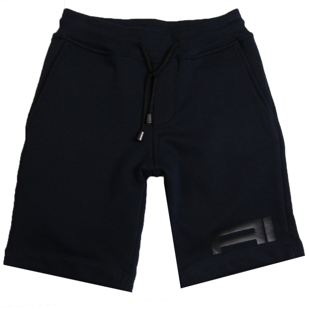 AI Riders On The Storm Kids Navy Fleece Shorts