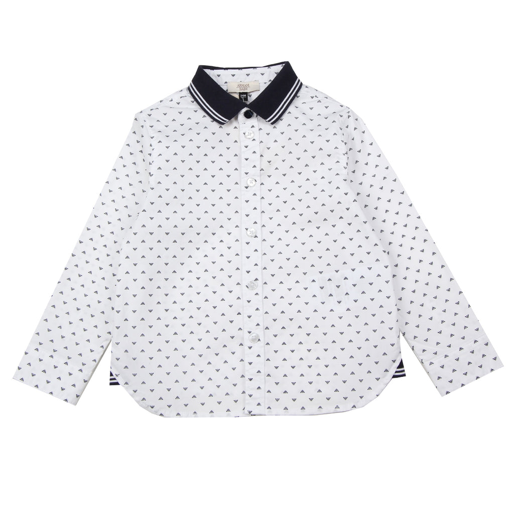 Armani Baby Eagle Logo Printed White Shirt