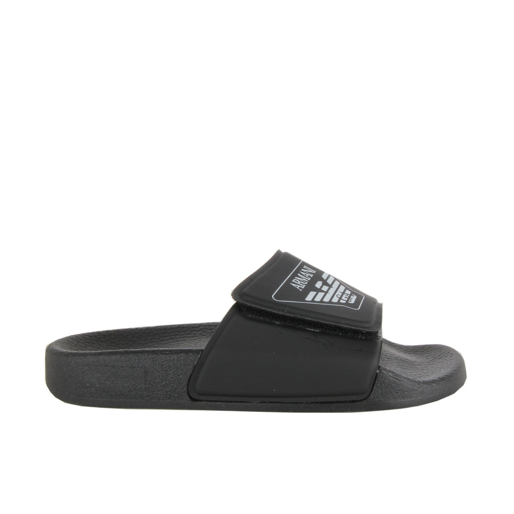 Armani Junior Black Logo Sliders